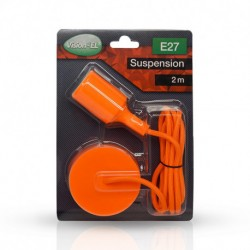 SUSPENSION SILICONE DOUILLE E27 ORANGE + CABLE 2 METRES