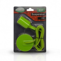 SUSPENSION SILICONE DOUILLE E27 VERT + CABLE 2 METRES