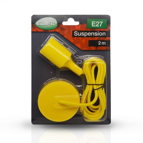 SUSPENSION SILICONE DOUILLE E27 JAUNE + CABLE 2 METRES